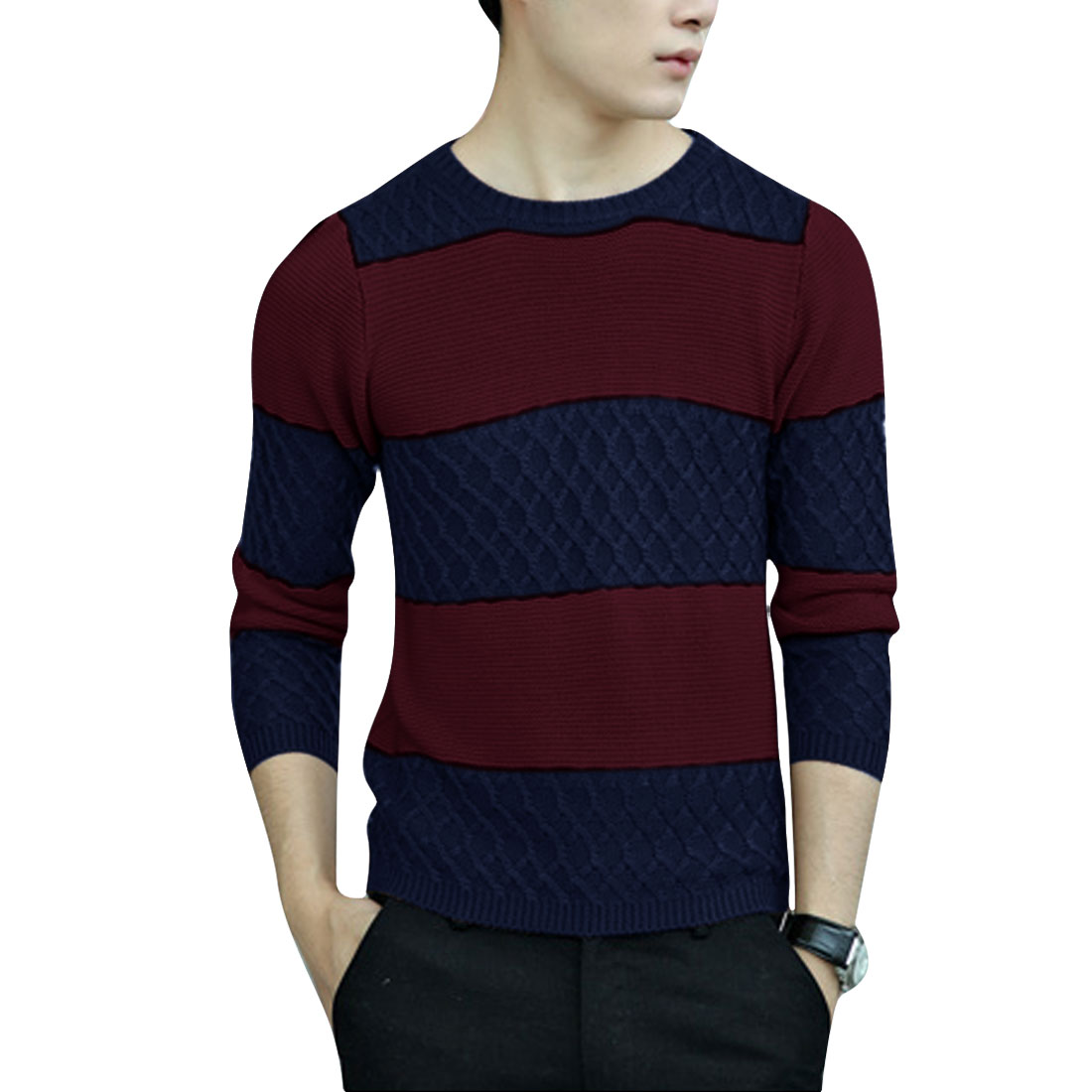 Men's Fashion Color Block Soft Wine Red Knit Sweater M