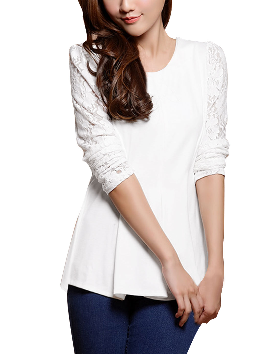 Lady Round Neck Long Sleeve Panel Zipper Back White Peplum Tops XS