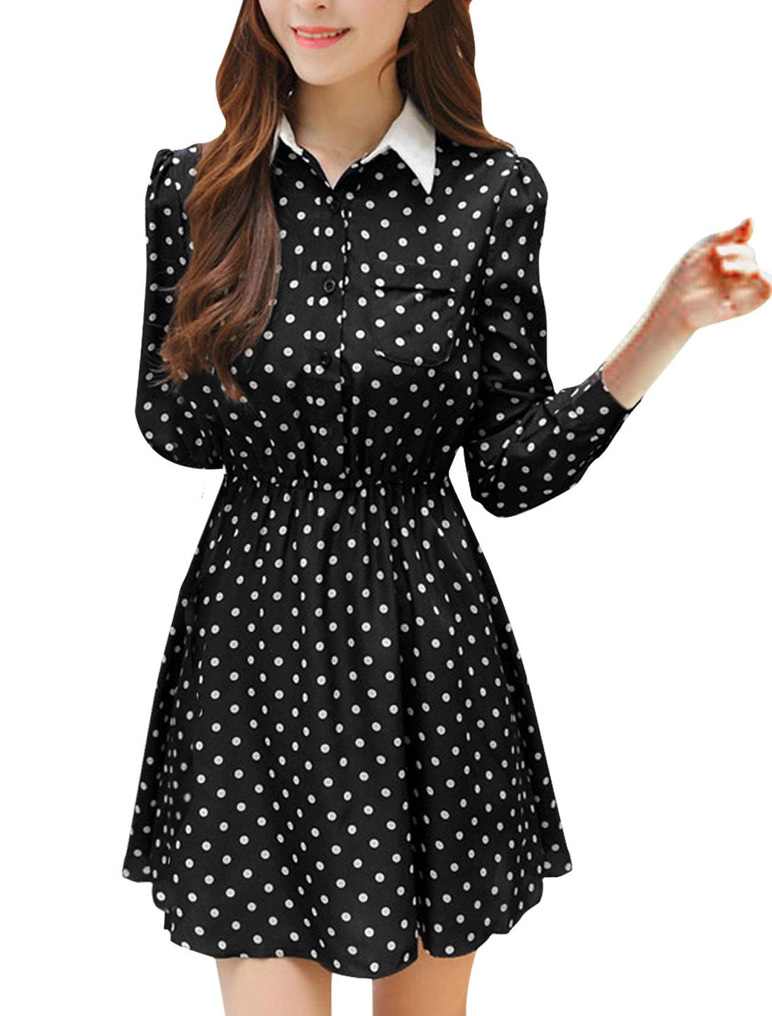 Woman Point Collar Half Placket Dots Prints Shirt Dress Black XS