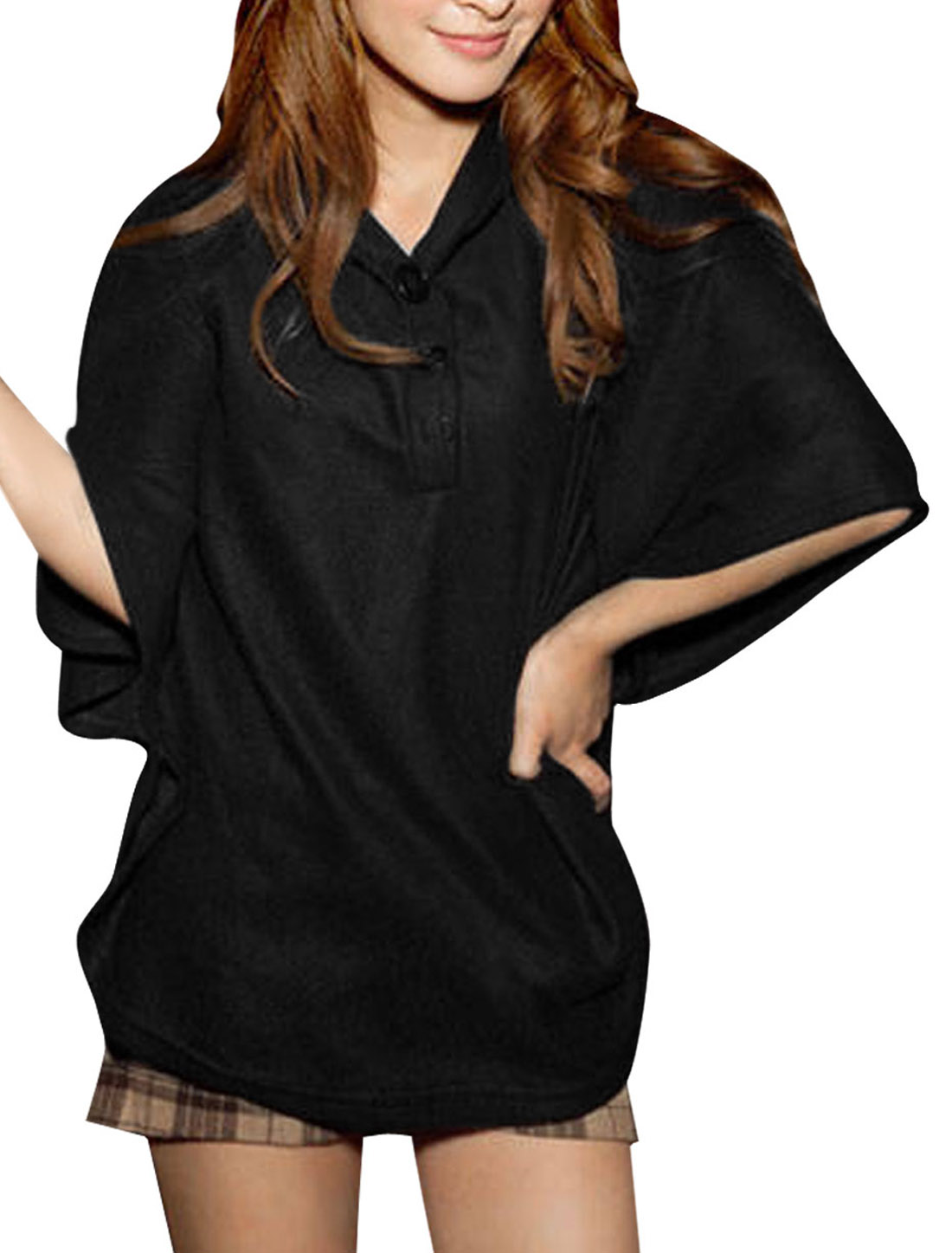Women Hooded Batwing Sleeve NEW Poncho Coat Black S