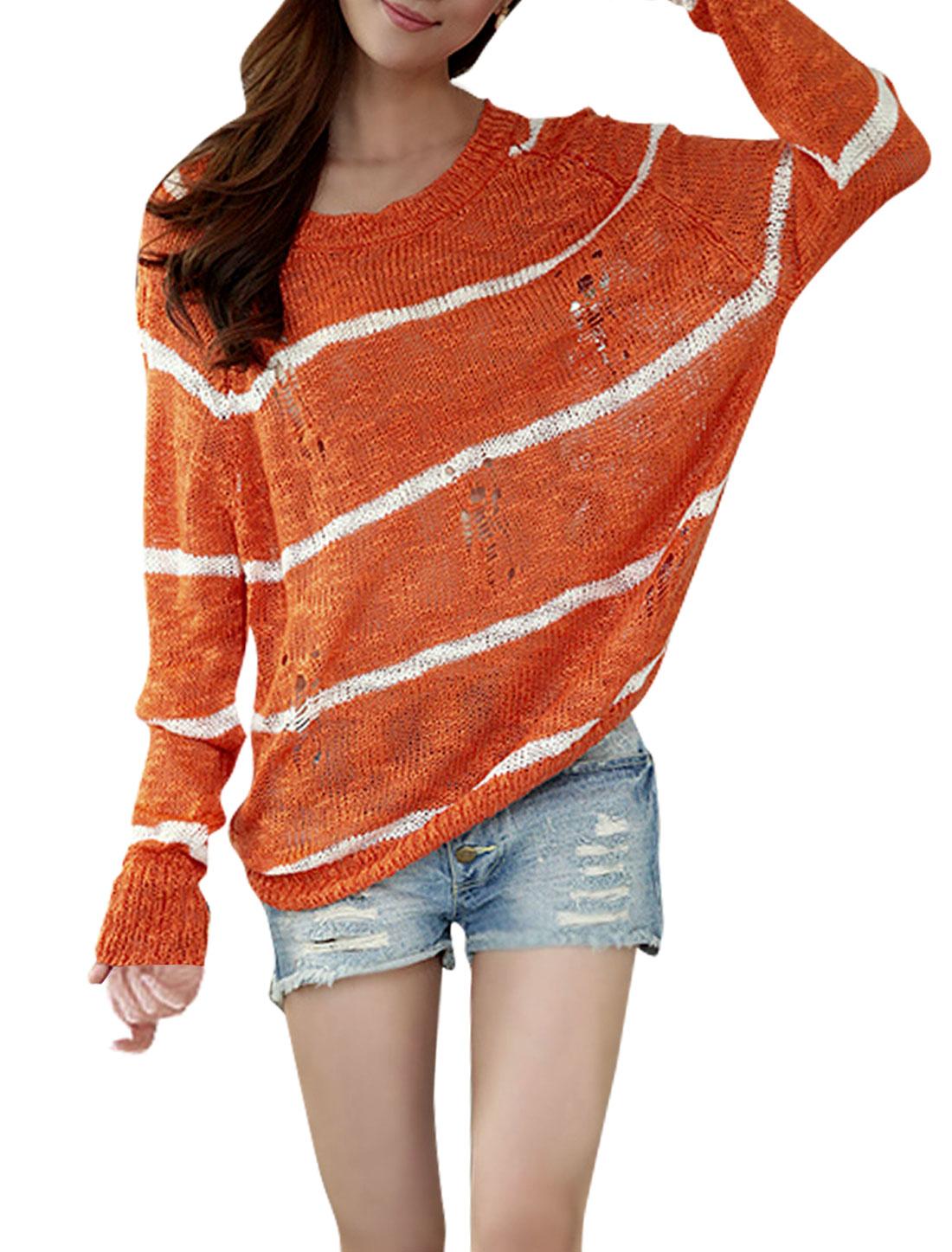 Lady Round Neck Batwing Stripes Knitting Hollow Orange Shirt M