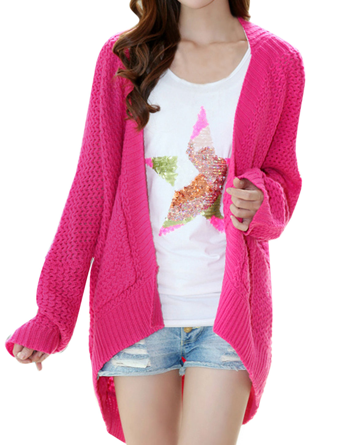 Lady Batwing Sleeved Slit Deep Pink Knitting Cardigan Cape Sweater M