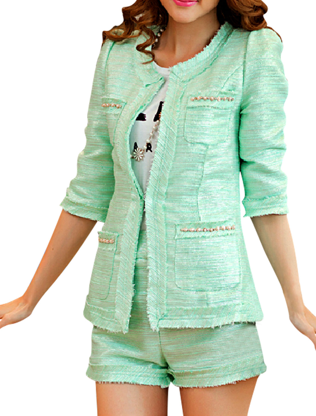 Women's Mint Open-front Blazer w High Waist Shorts Two piece Set XS