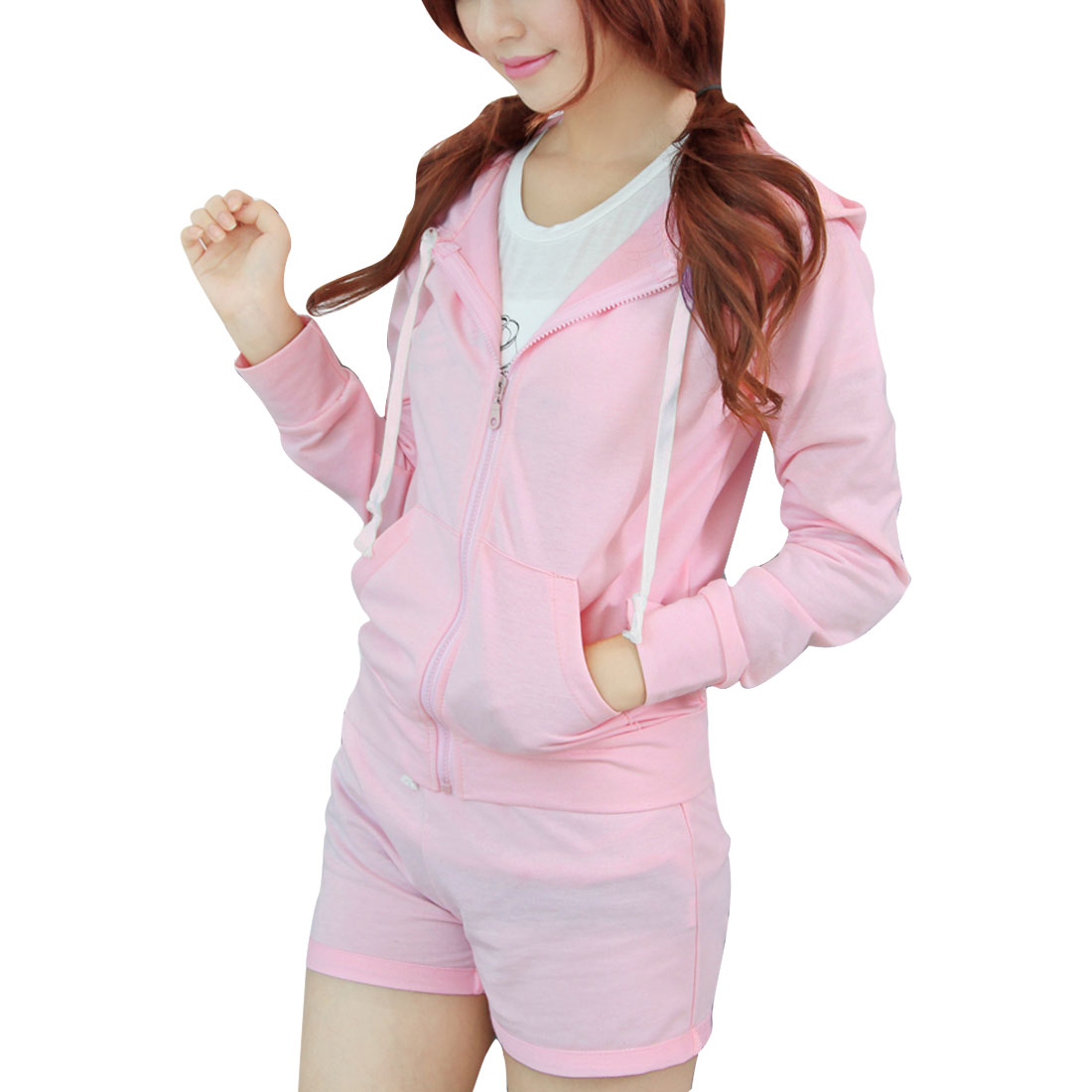Women Hooded Zip Up Pockets Hoodie & Ribbing Waist Shorts Pink S