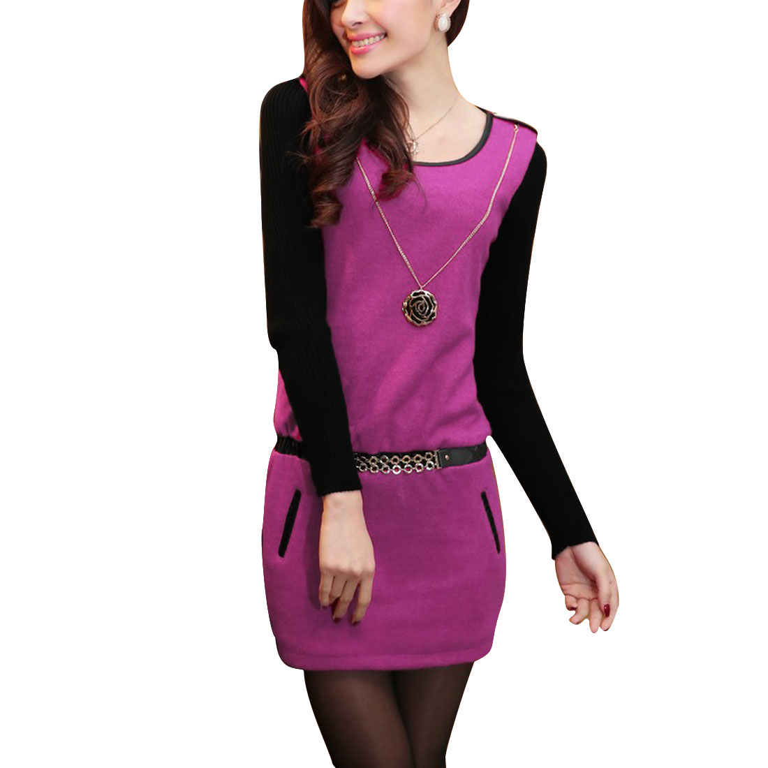 Women's Round Neck Fuchsia Stretchy Waist Pendant Decor Dress XS