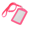 Hot Pink Faux Leather Vertical Work Bussiness Card Holder w Neck Strap