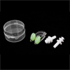 Green Clear Plastic Nose Clip + White Earplugs Set for Swimming