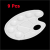 Students 10 Compartments Oval Shaped Paint Plate Palette Tray White 9pcs