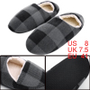 Men Round Toe Soft Lining Plaids Pattern Warm Slippers Black Gray US 8