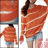 Lady Round Neck Batwing Stripes Knitting Hollow Orange Shirt M