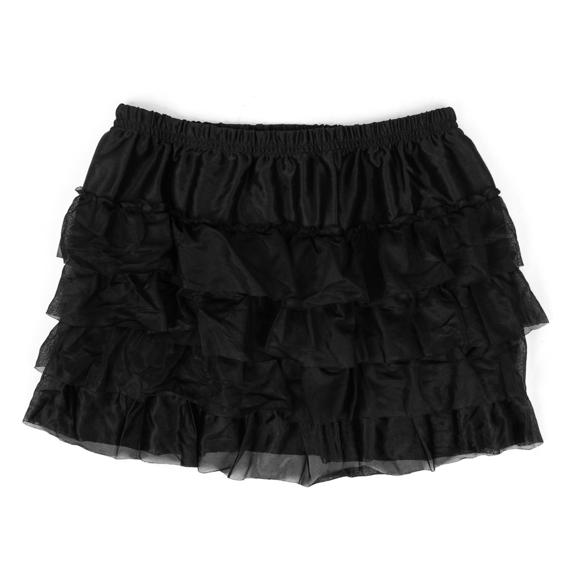 Woman Stretchy Waist Casual Summer Mini Skirt Black XS