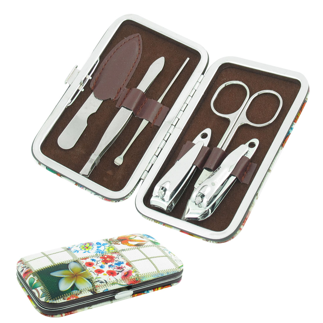 Colorful Case 6 in 1 Professional Manicure Set Nail Clippers Scissors