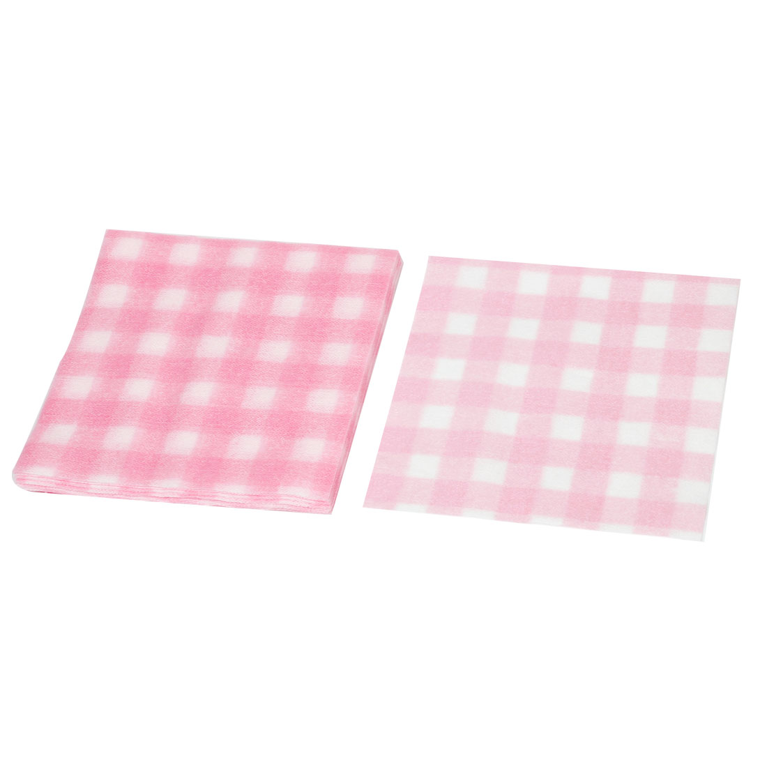 20 Pcs Pink White Check Pattern Disposable Square Shape Face Wash Clean Cloth