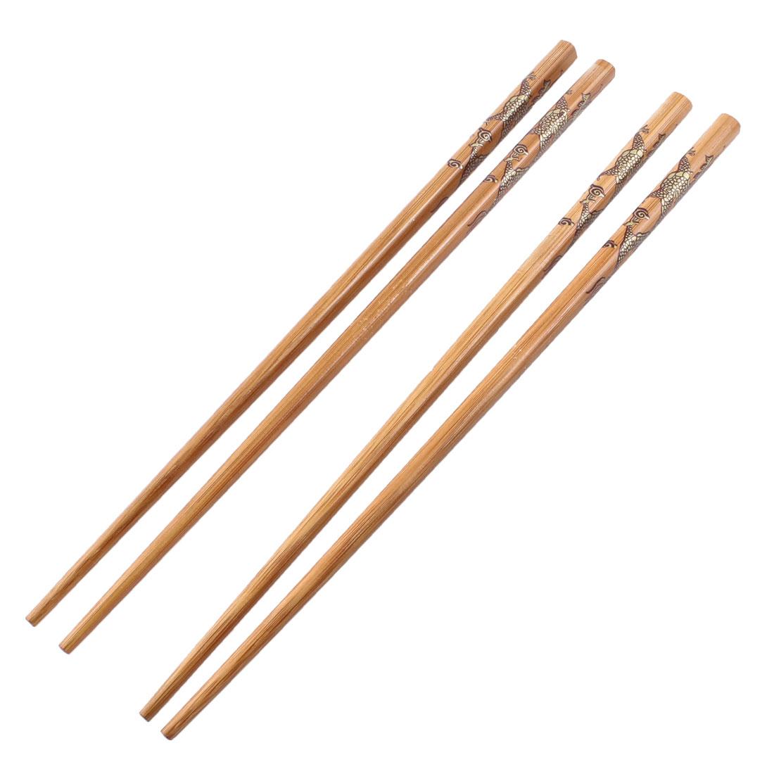 Home Brown Round Tip Wooden Chopsticks Tableware Dargon Printed 2 Pairs