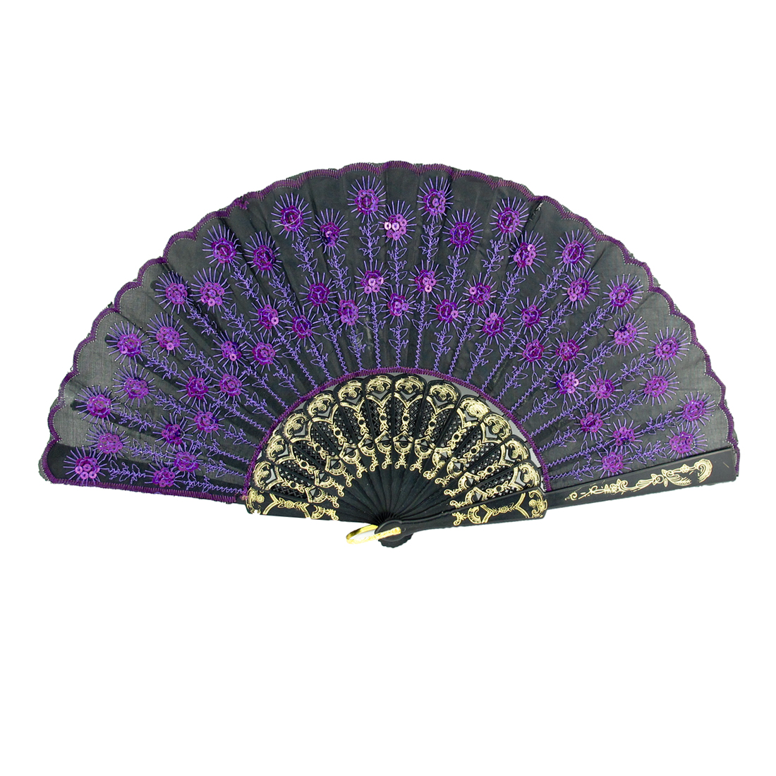 Purple Embroidered Flower Pattern Black Cloth Folding Hand Fan for Woman