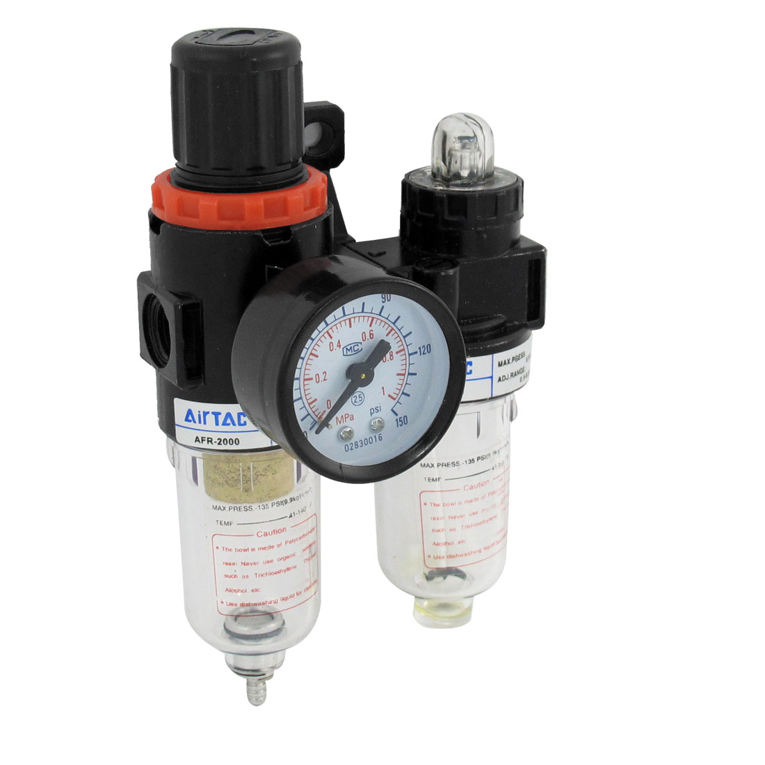 AFC-2000 Pneumatic Air Source Treatment Filter Regulator Lubricator w Pressure Gauge