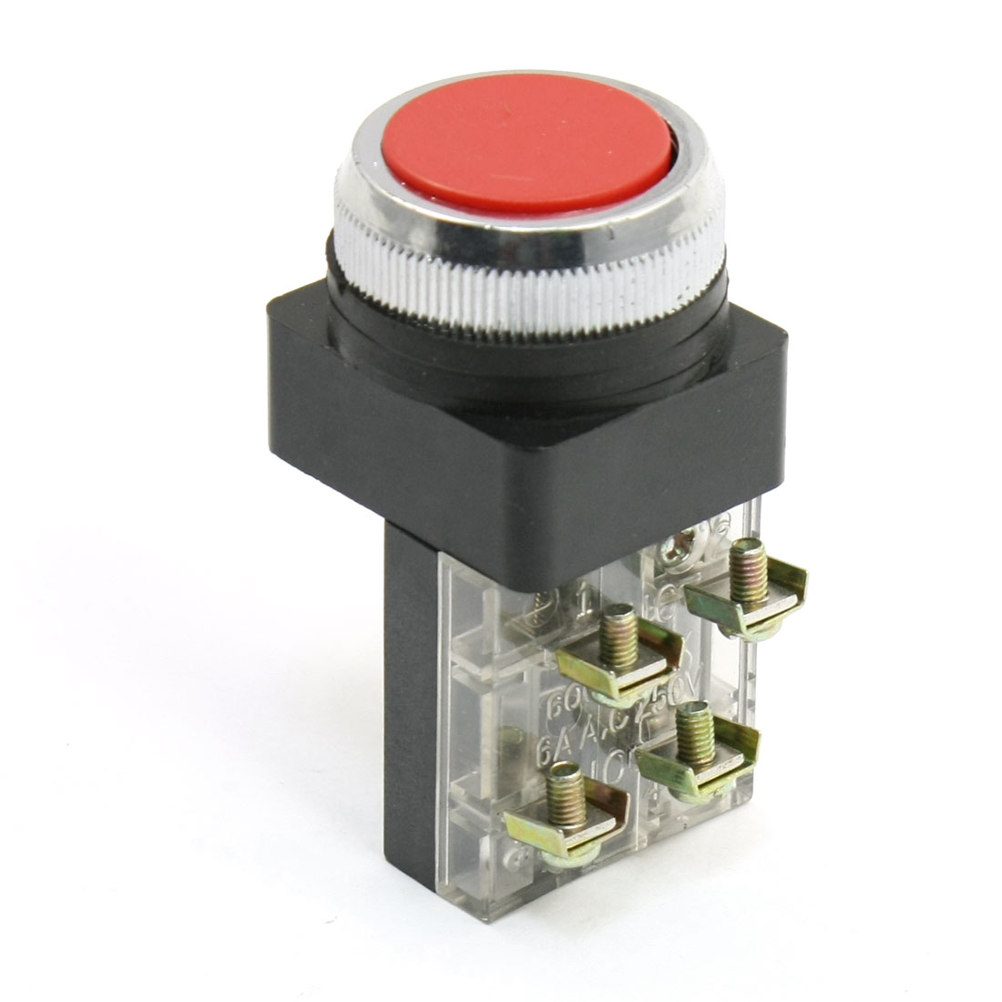 AC 250V 6A NO NC Momentary Push Button Red Round Flat Pushbutton Switch