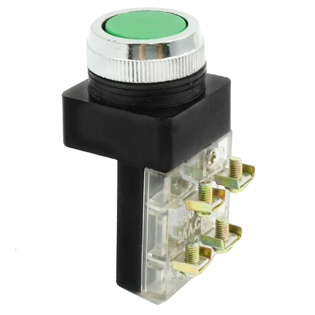 AC 250V 6A DPST Momentary Action Green Flat Cap Push Button Switch