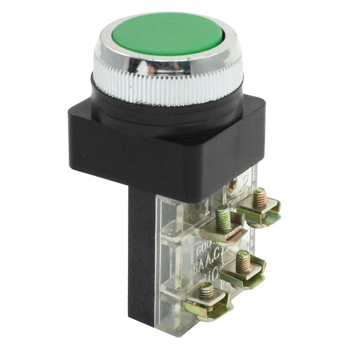 Green Flat Cap Pushbutton Momentary NO NC Push Button Switch AC 250V 6A