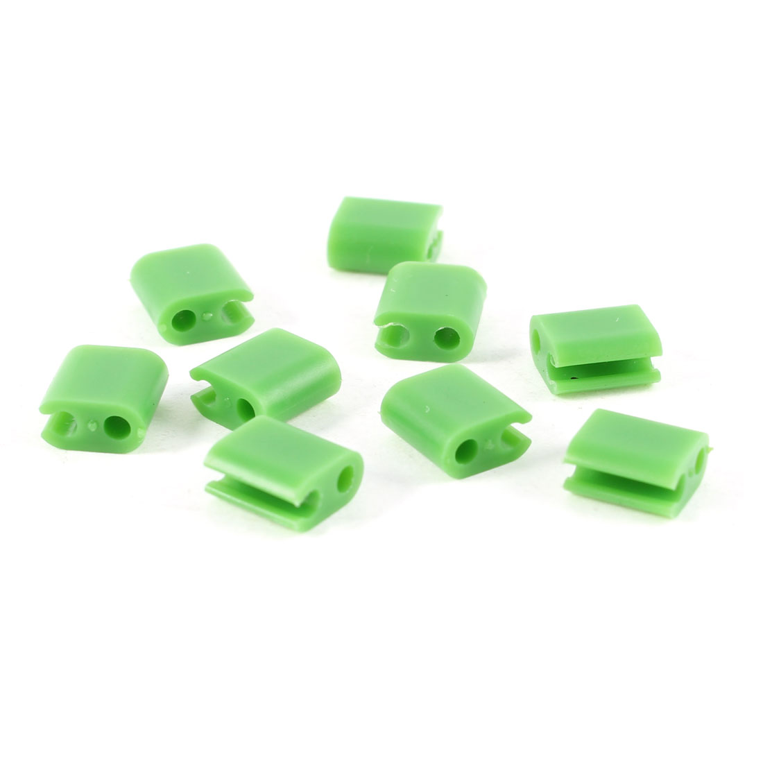 Green Plastic 2mm Headphone Earphone Line Wire Fixer Clips Holder 9 Pcs