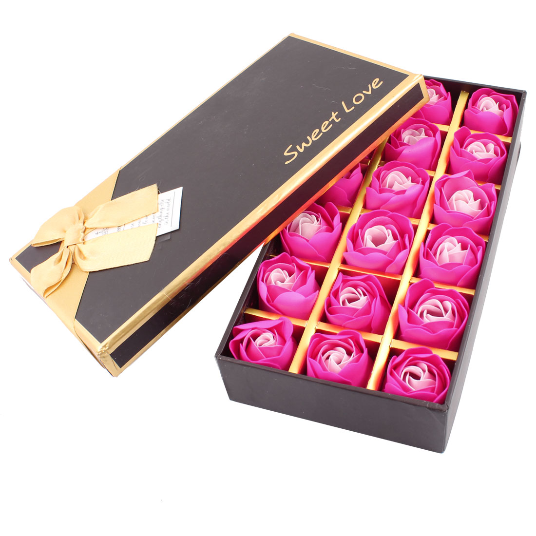 18 Pcs Birthday Gift Dark Pink Bath Soap Rose Petal w Box Case