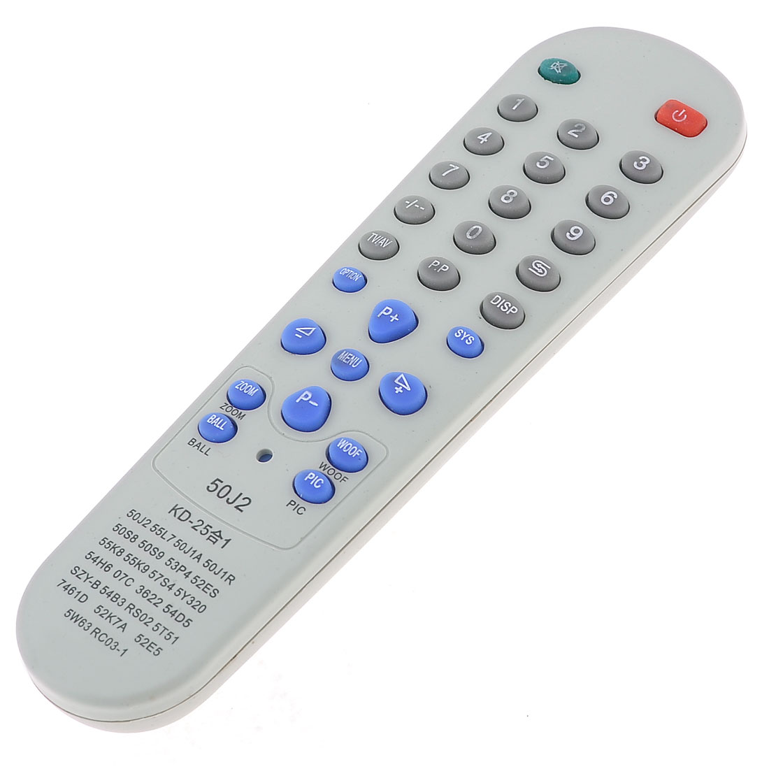 "Gray Plastic Shell Replacement Universal TV Remote Control 6.3"" Long"