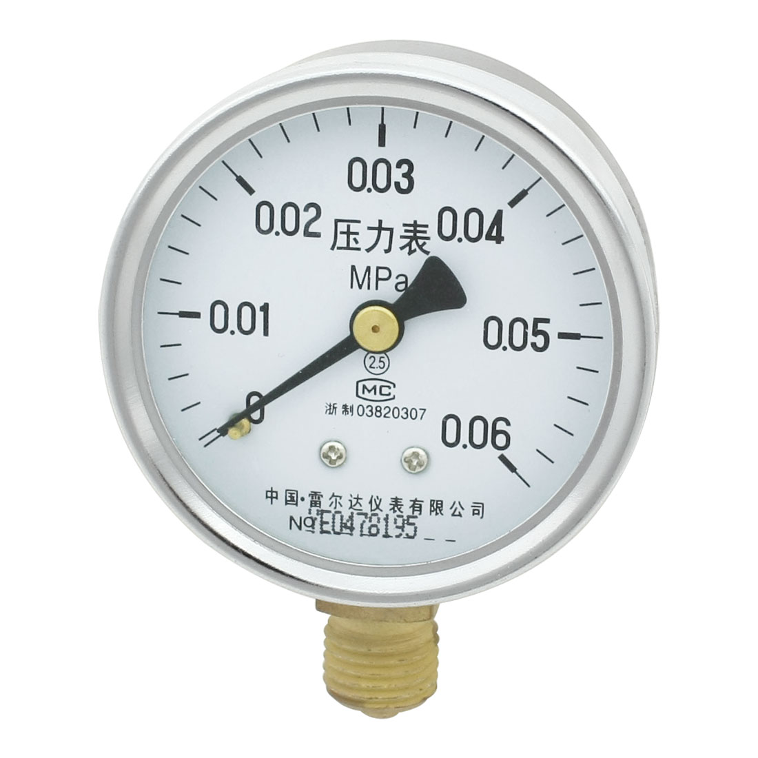 Lower Mount M14 Thread 0.06Mpa 8.7PSI Industrial Air Pressure Gauge