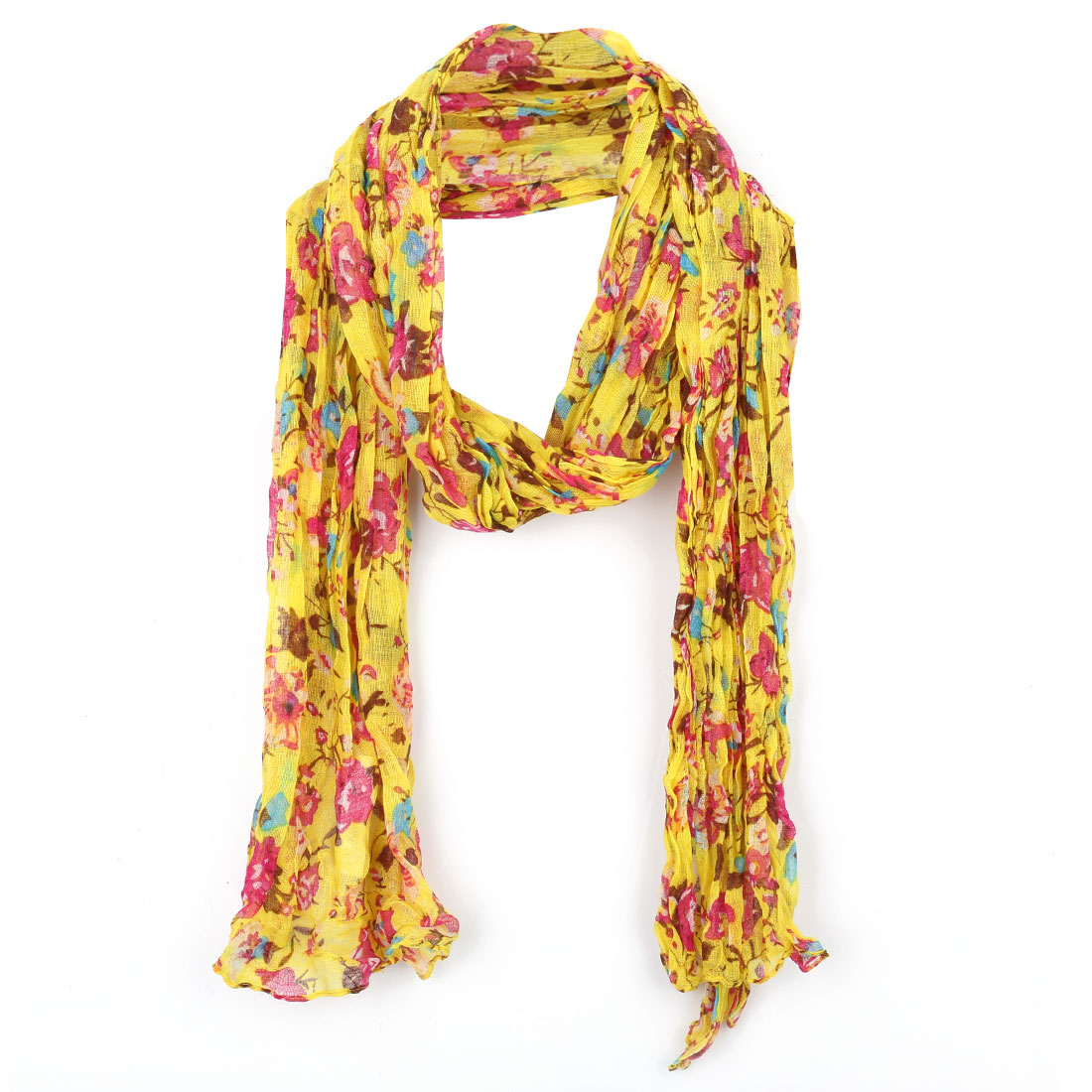 Girls Floral Prints Semi Sheer Winter Scarf Yellow Fuchsia