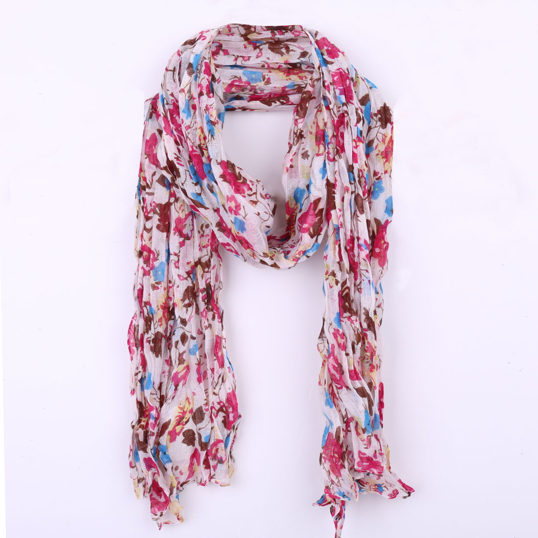Girls Semi Sheer Pleated Winter Wearing Scarf White Fuchsia