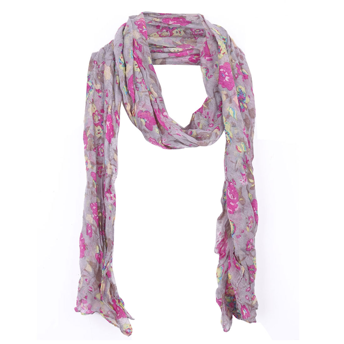 Girls Flower Pattern Soft Warm Winter Scarf Gray Purple