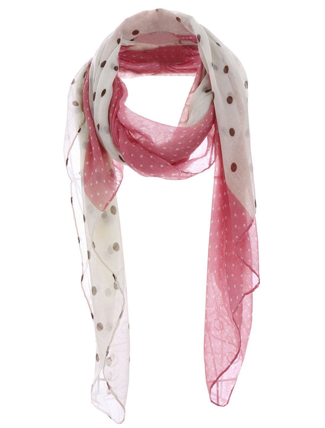 Girls Dots Prints Semi Sheer Fashion Scarf Pink White