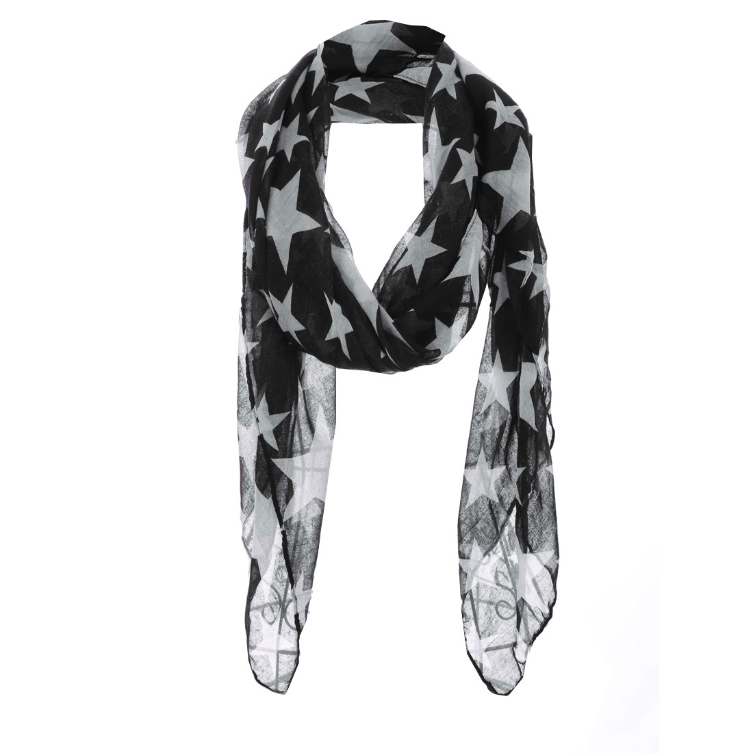 Girls Fashion NEW Soft Stars Pattern Scarf Black White