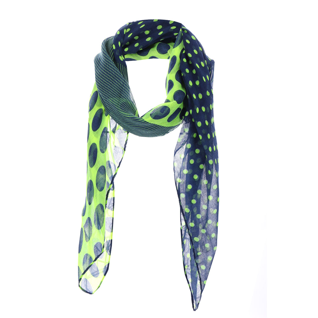 Girls Dots Pattern Semi Sheer Scarf Light Green Navy Blue