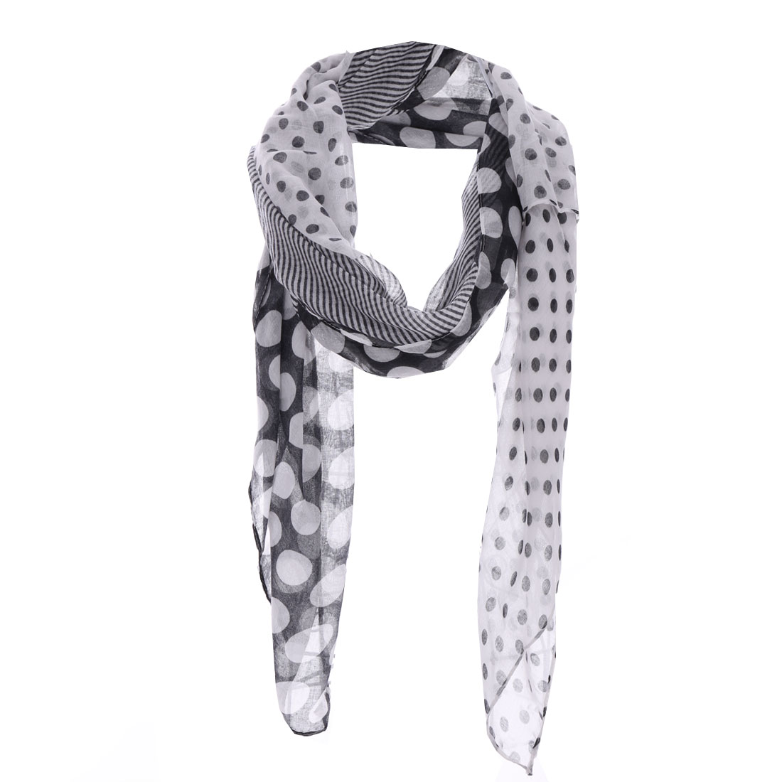 Girls Stripes Semi Sheer Fashionable Scarf Black White