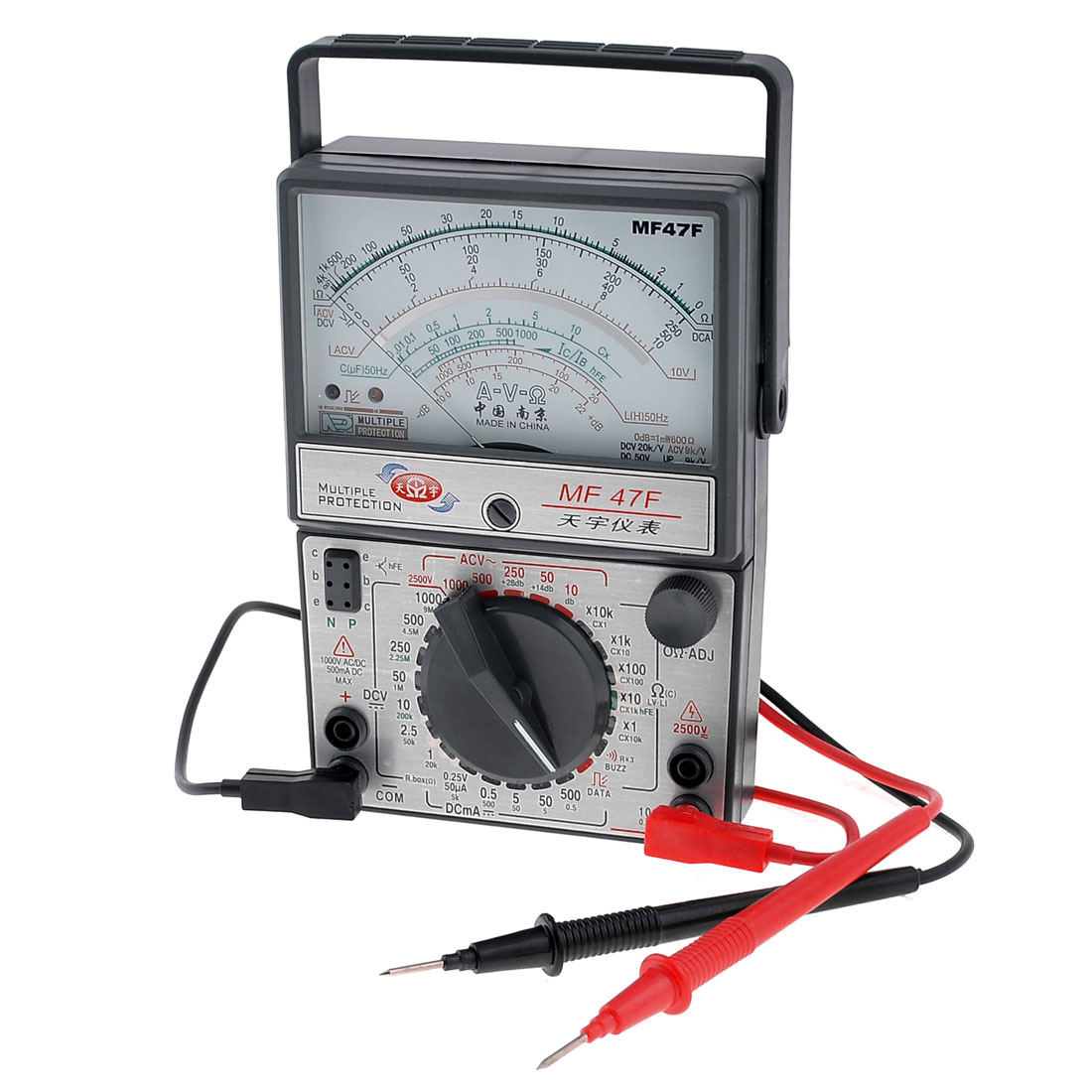 Rectangle AC DC Voltmeter Ammeter Ohm MF47F Meter Multimeter