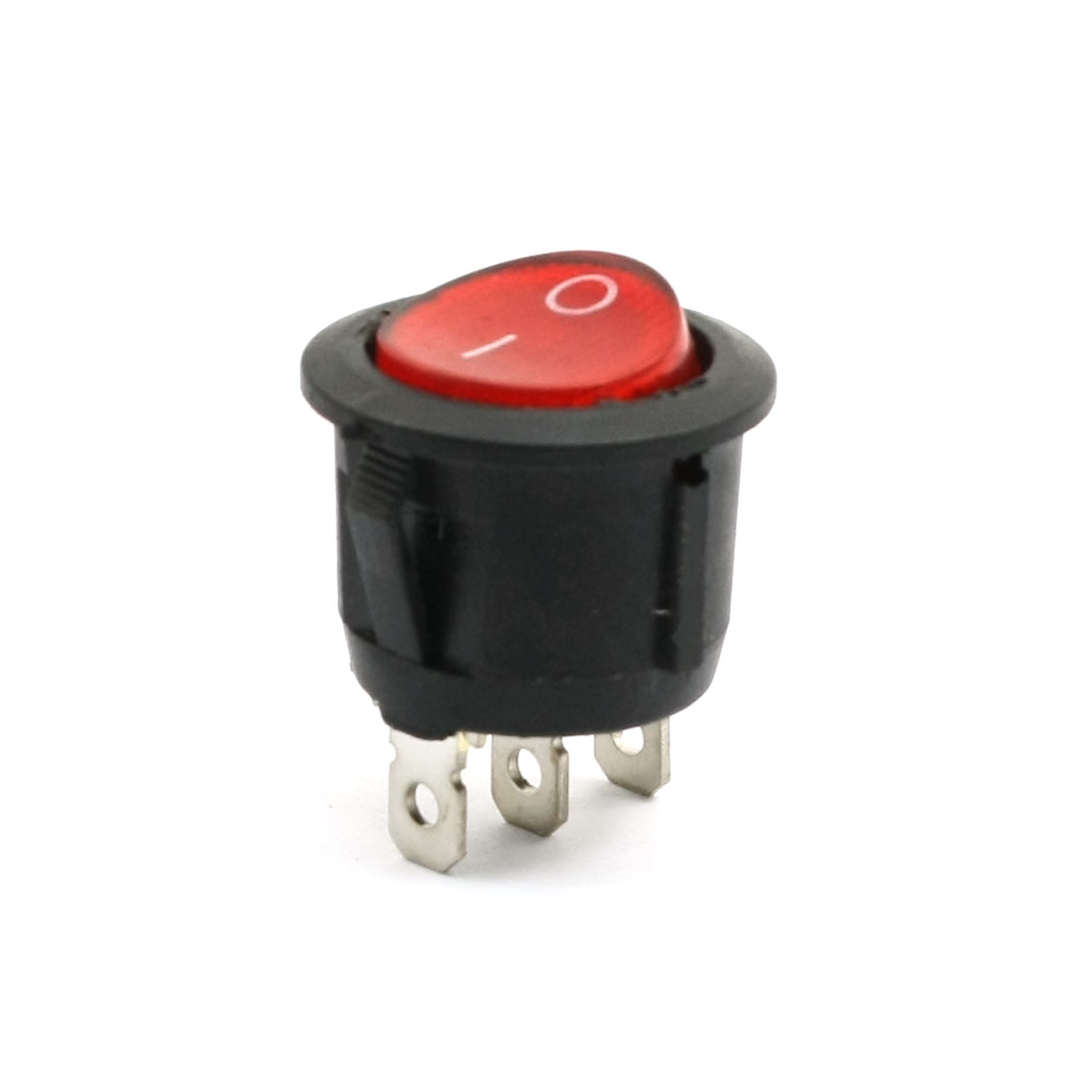 6A 250VAC 10A 125VAC Red Light Indicator SPST 3 Terminal Rocker Switch