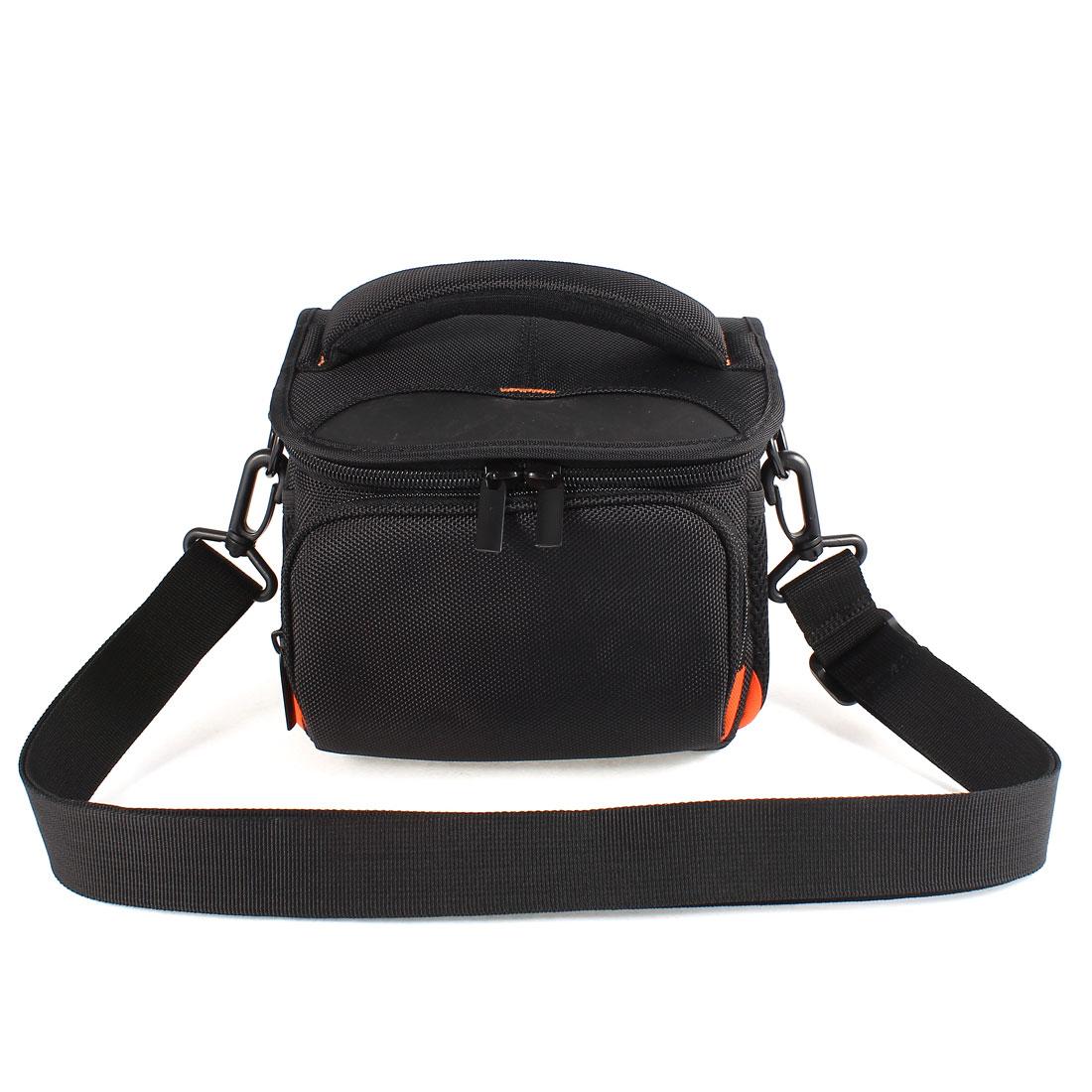 Zipper Closure 6 Pocket Handle Digital Camera Bag Case Pouch Black w Belt Strap