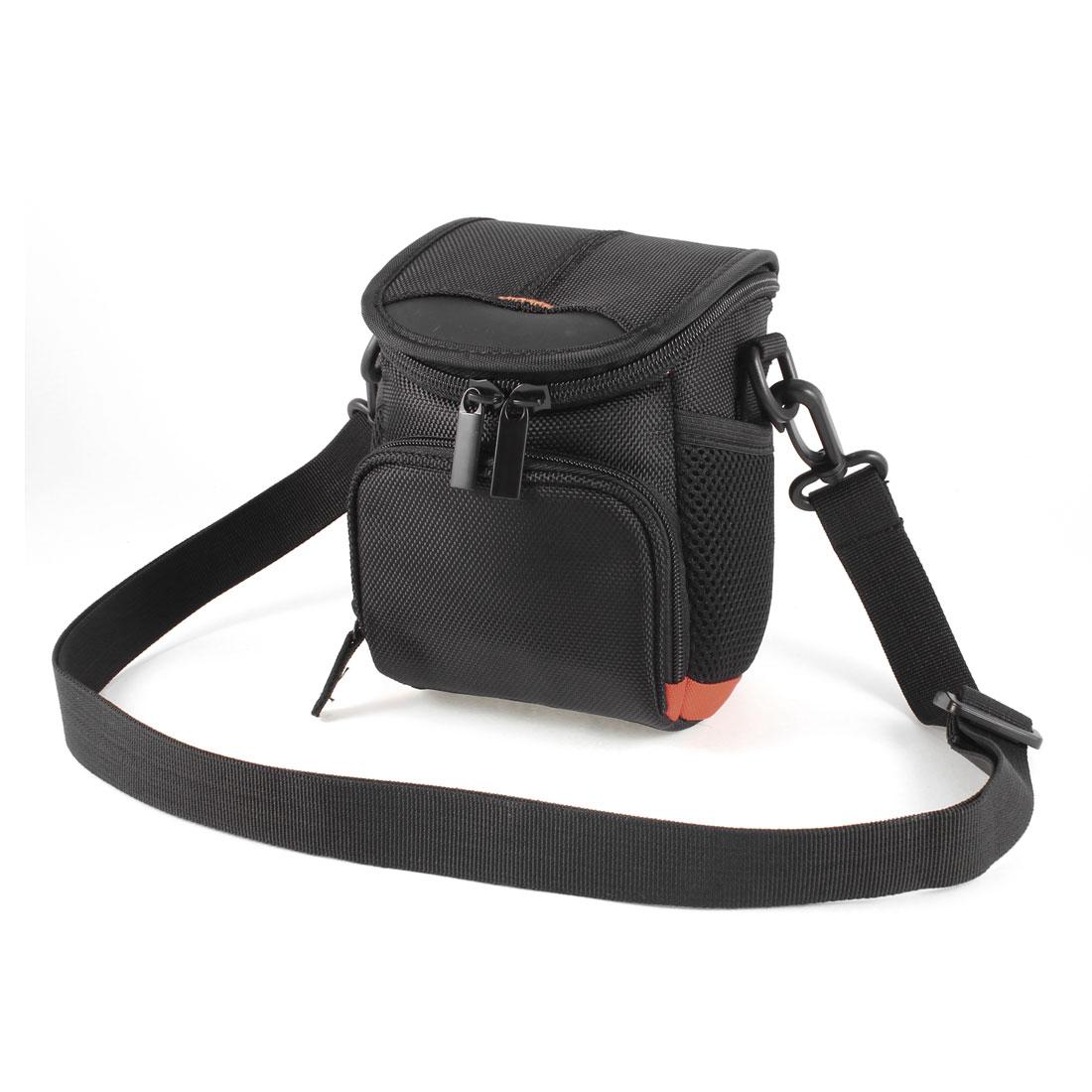 Zipper Closure Two Main Compartment Digital Camera Bag Case Holder Black w Strap