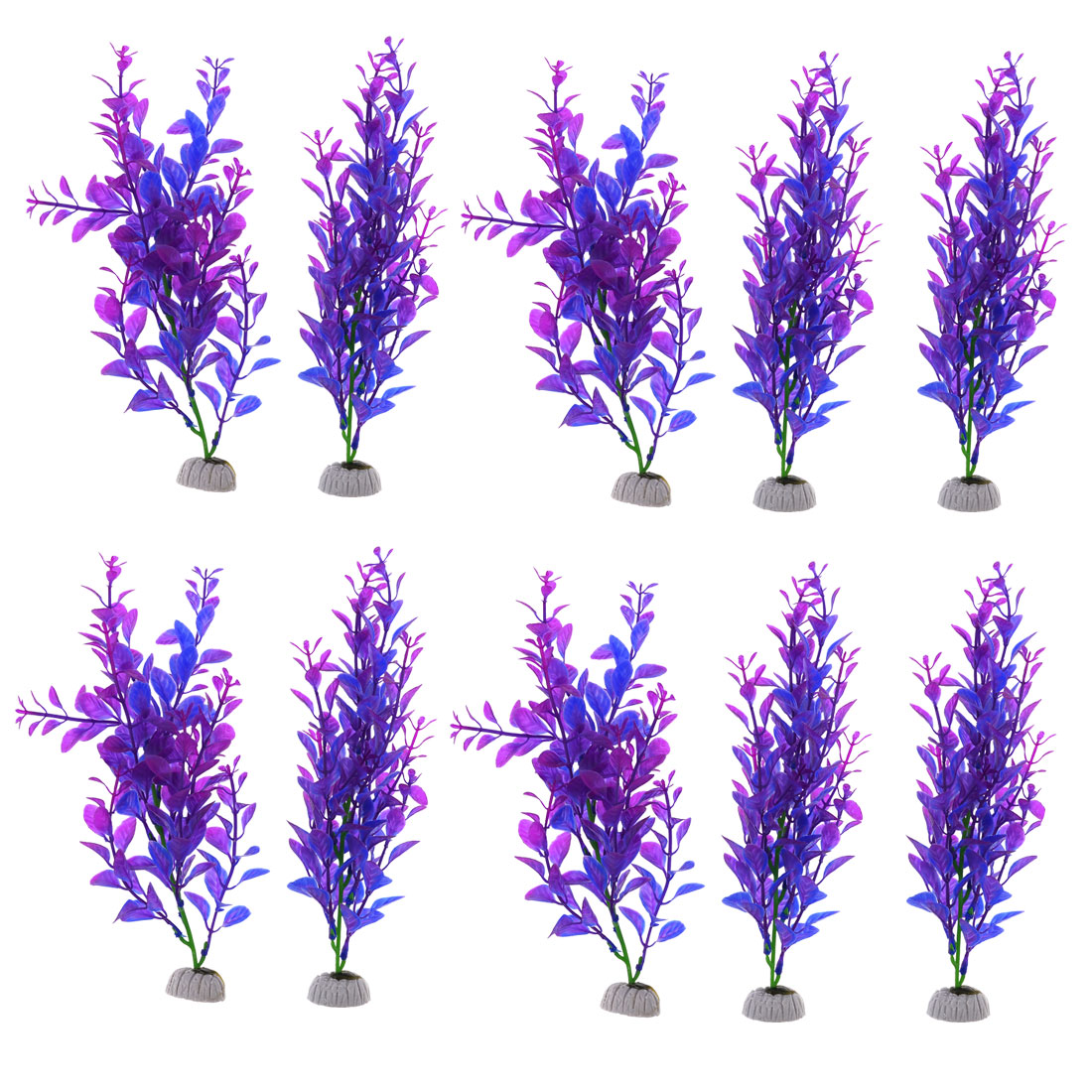 "Emulational Plastic Purple Blue Fish Tank Water Grass Aquarium 9.3"" High 10pcs"