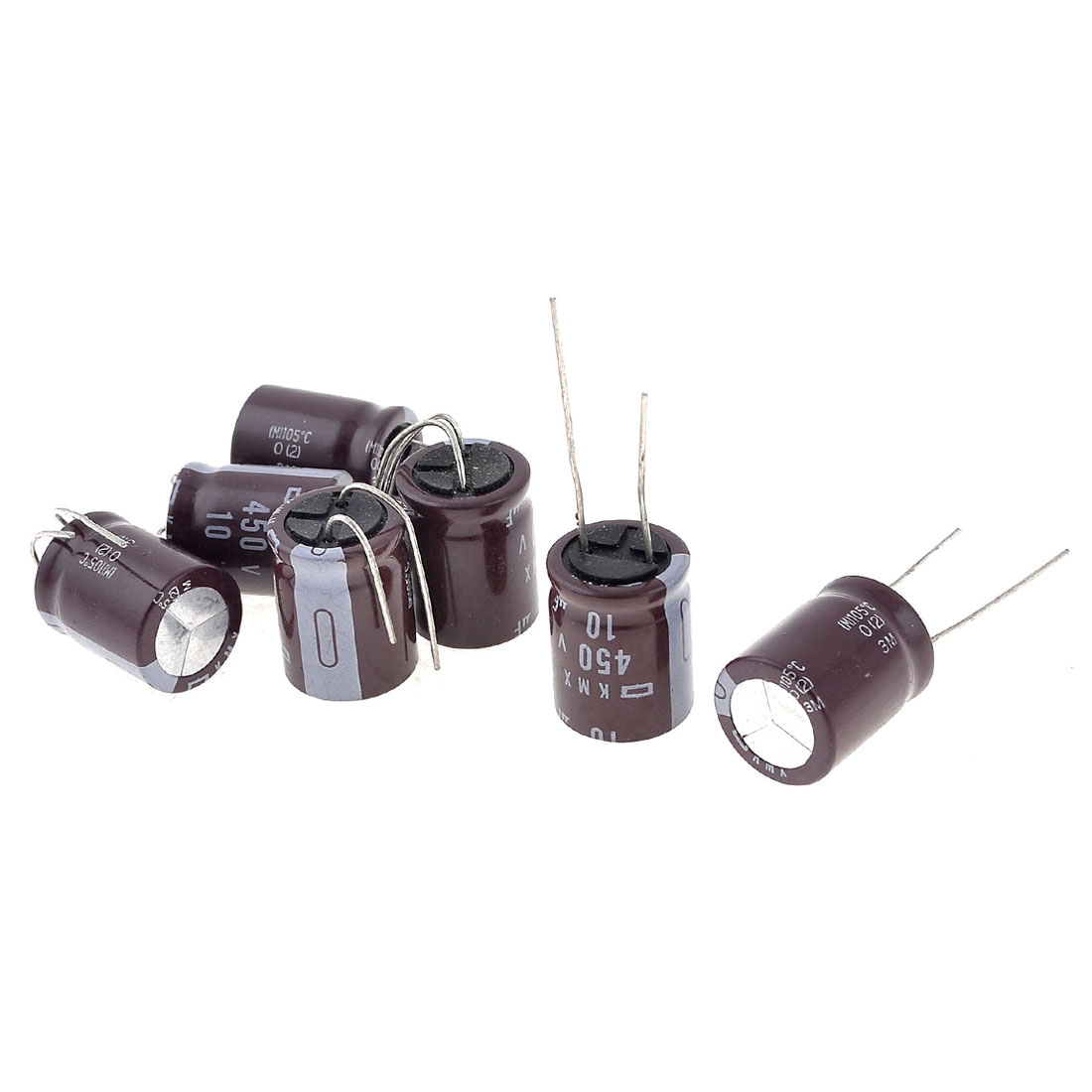 7 Pieces 10uF 450V 2 Terminals Cylinder Electrolytic Capacitors