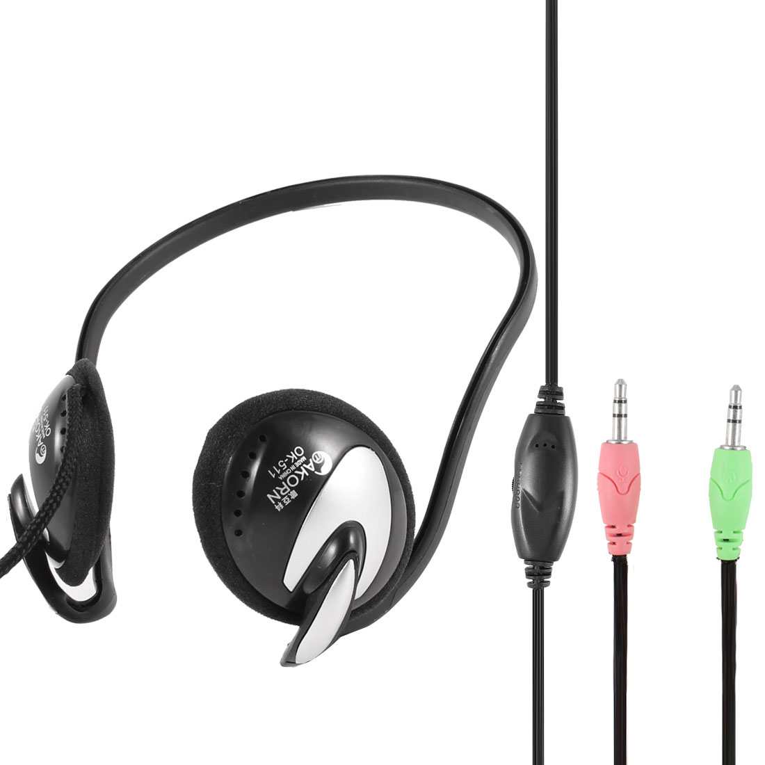 Slim Headband Laptop Desktop Headphone Headset 3.5mm Connector w Microphone