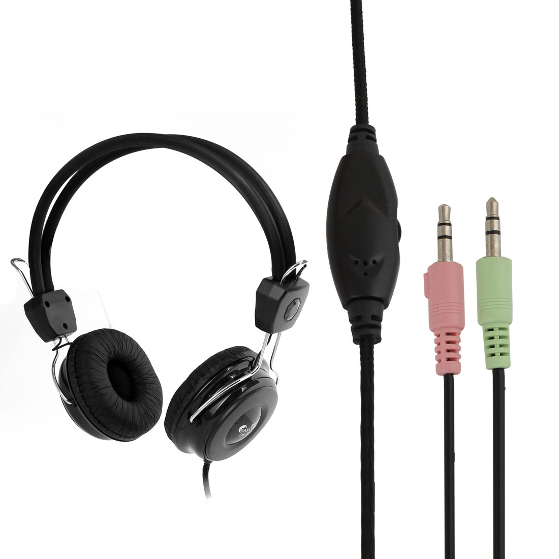 Enclosed On-Ear Dynamic Stereo DJ Headphones 3.5mm w In-Line Mic