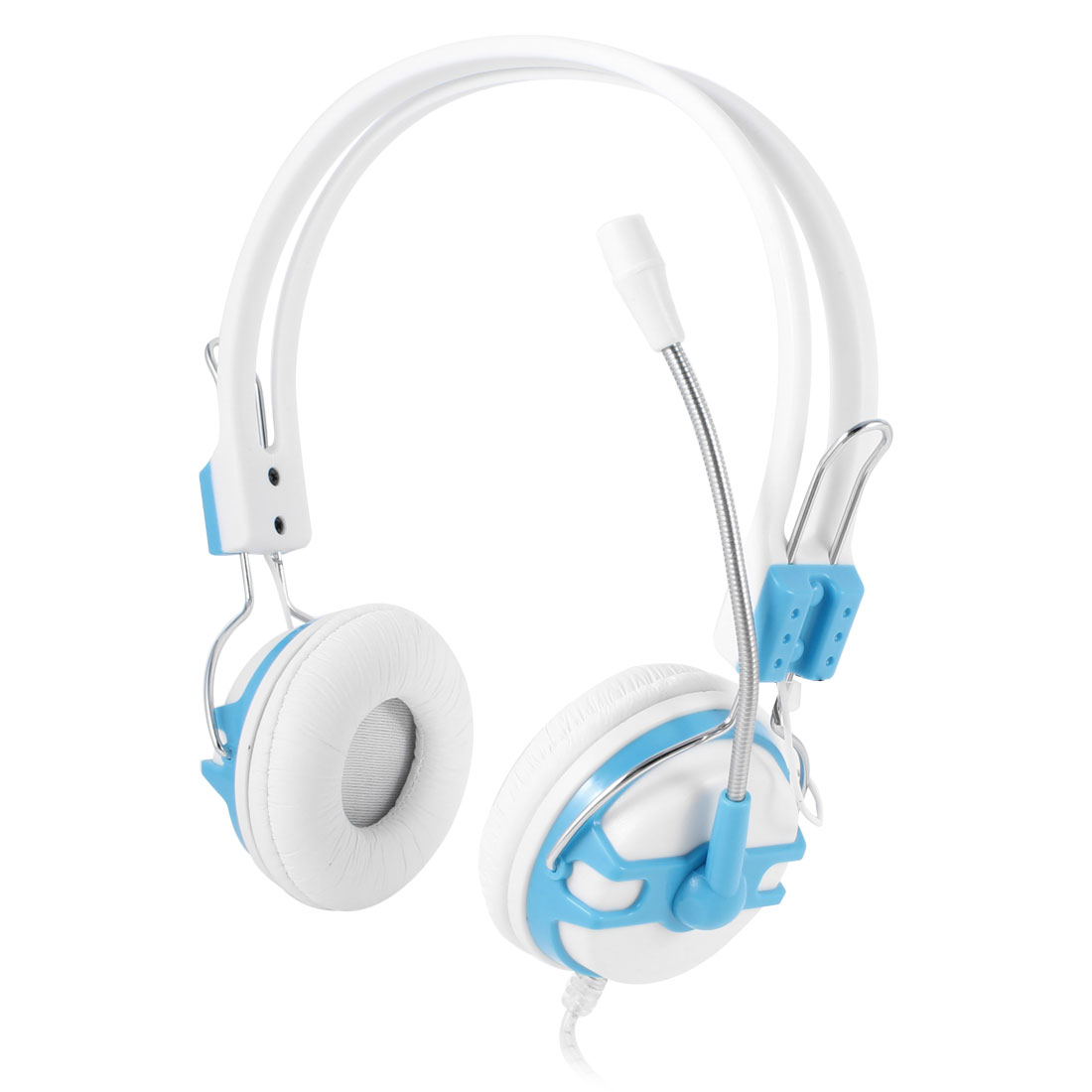 Sky Blue White 3.5mm Stereo Connector Braided Shelled Cable Headset Headphone w Mic