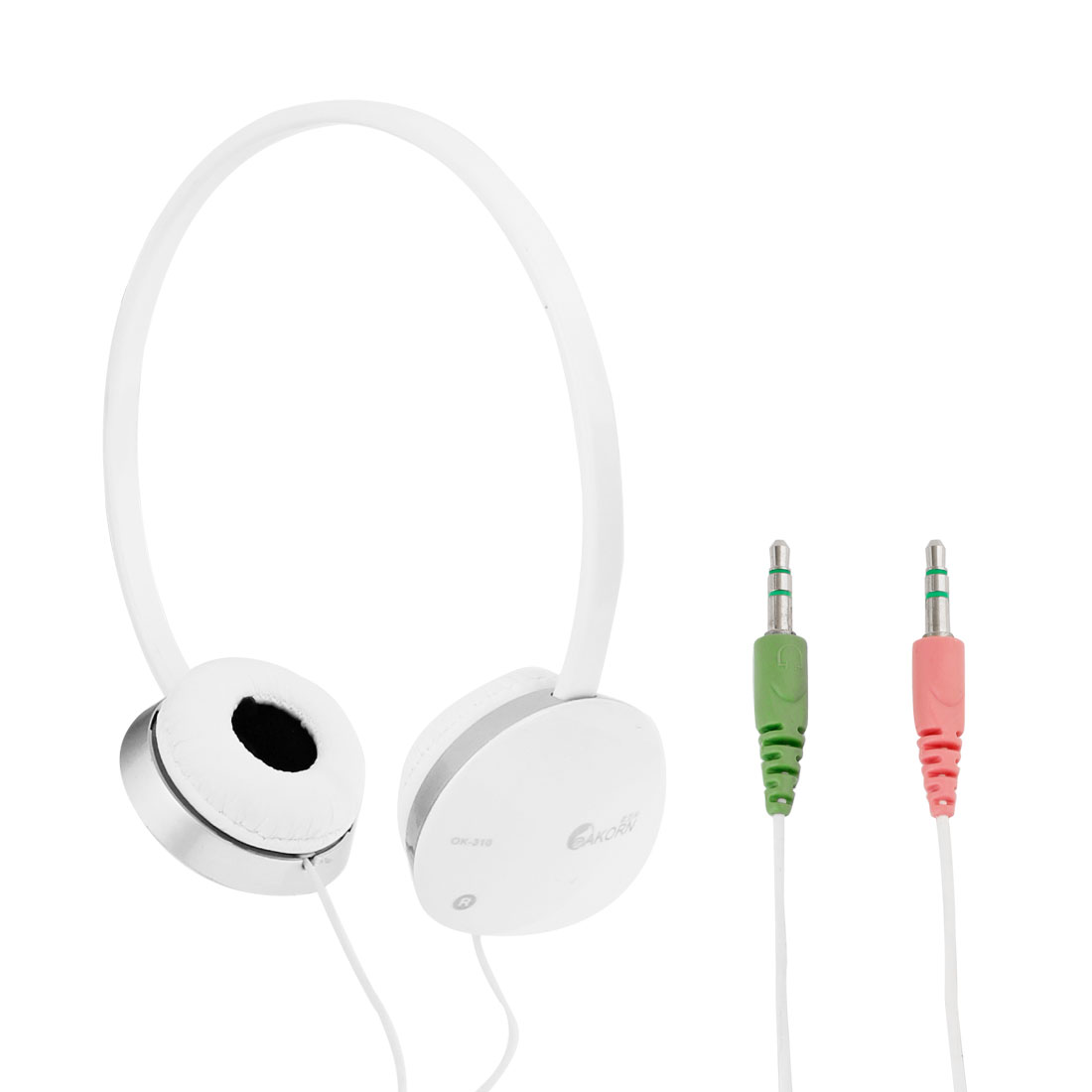 2.2M Long 3.5mm Connector Stereo Bass Headset Headphone w Mic White Gray