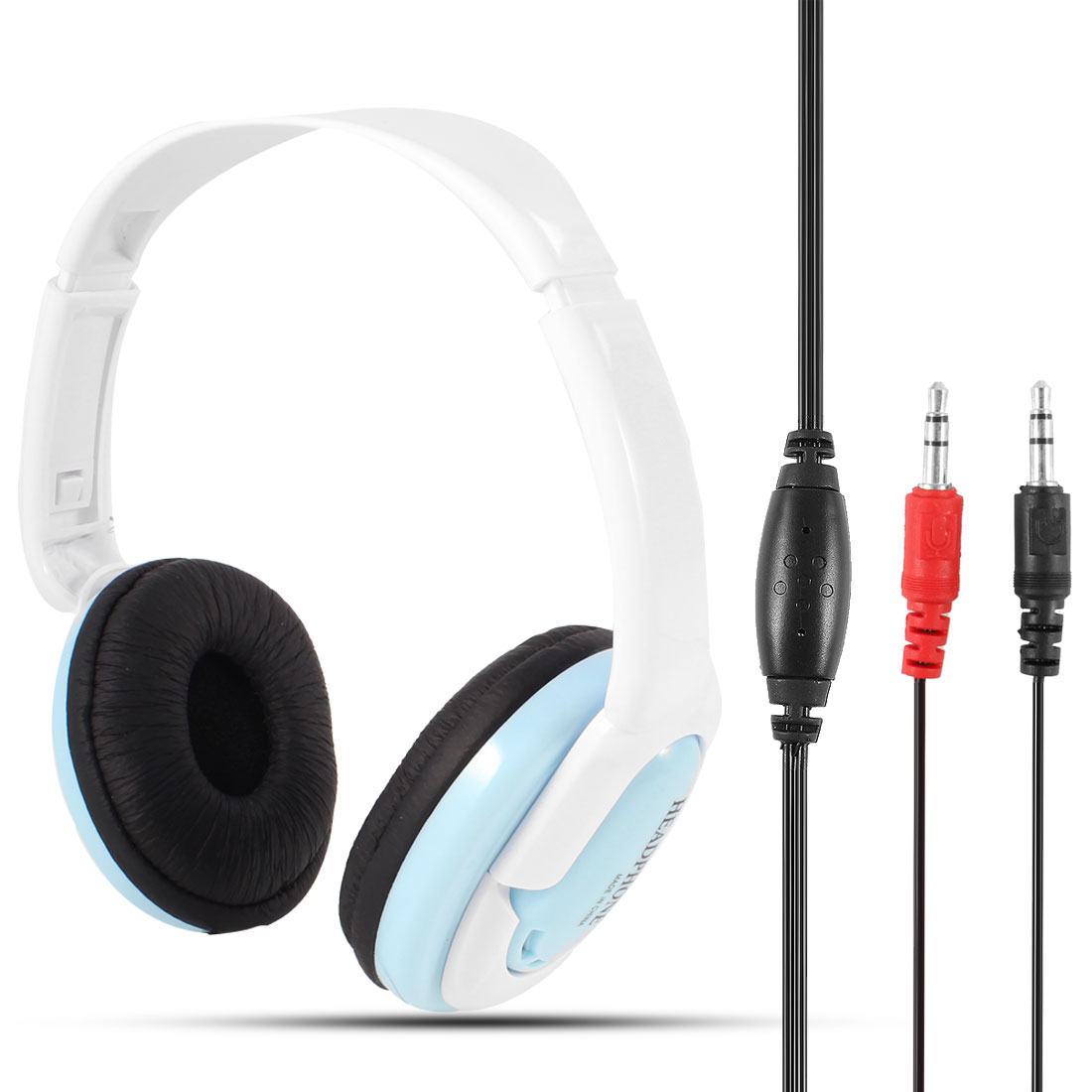 White Baby Blue 3.5mm Connector Headset Headphone w Mic for Laptop Desktop