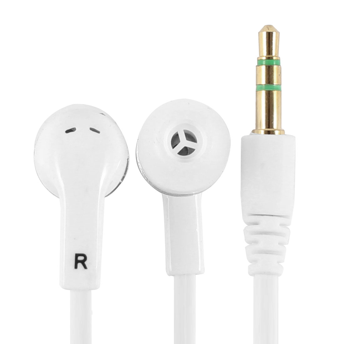 White Universal Flat Type Cable 3.5mm Connector In Ear Earphone Earbud for Phone MP3 MP4