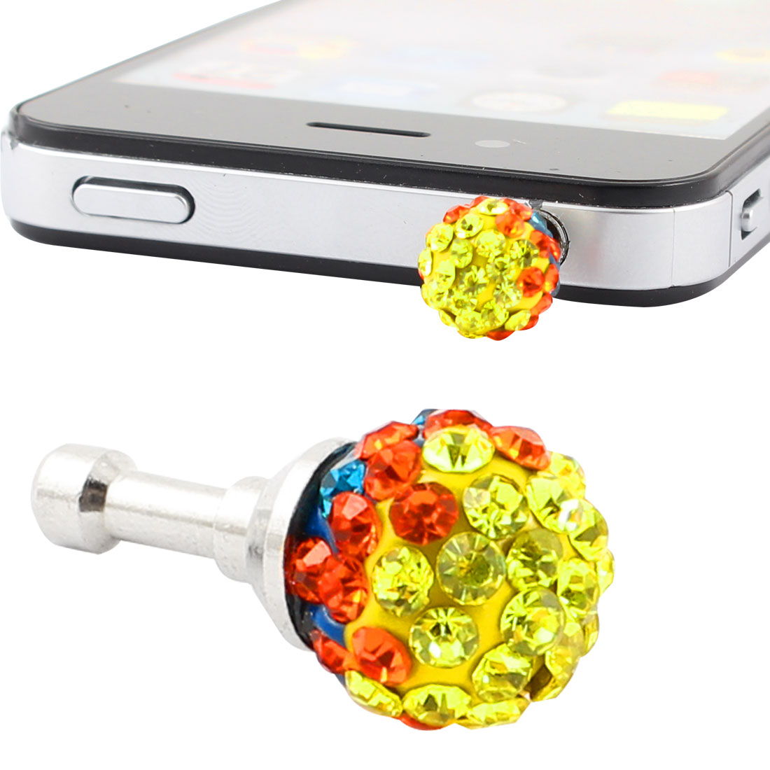 Colorful Faux Rhinestone Decor 3.5mm Earphone Ear Cover for MP3 Cell Phone
