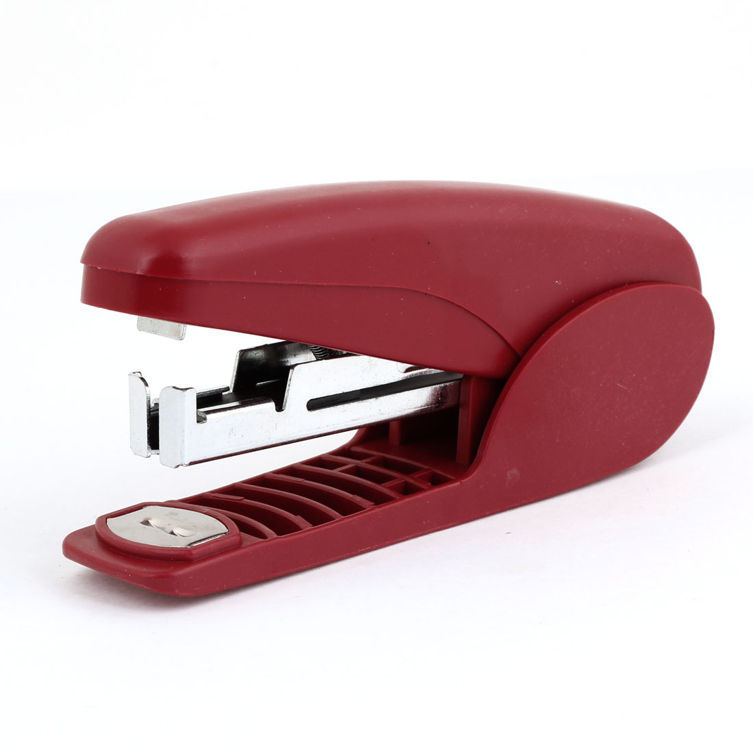 Mini Portable Plastic Office Stationery Desk Stapler Red Silver Tone