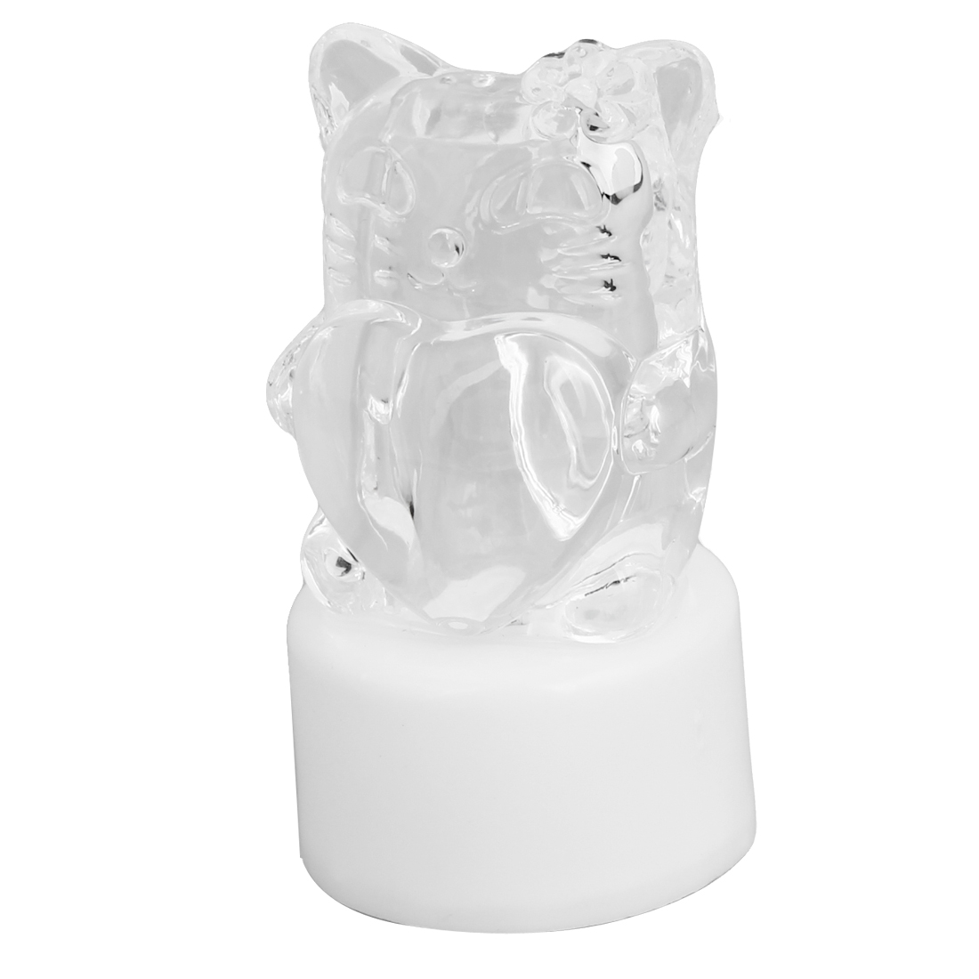 Cat Shaped Magic Colorful Changeable Plastic Crystal Flash LED Lamp White Clear