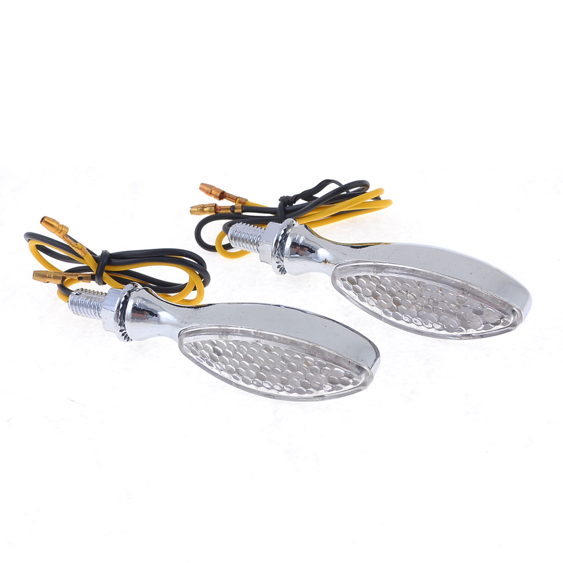 2pcs Yellow 12 LED Motorcycle Indicator Turn Signal Lights Silver Tone